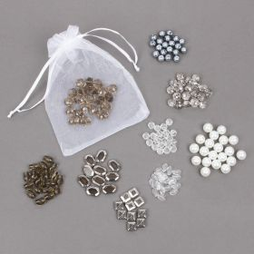 White and Silver Pearl Bead and Crystal Bead Bundle
