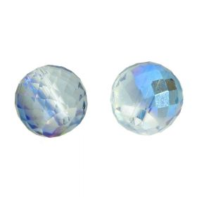 CrystaLove™ crystals / glass / faceted round / 6x8mm / grey-blue / transparent / iridescent / 6pcs