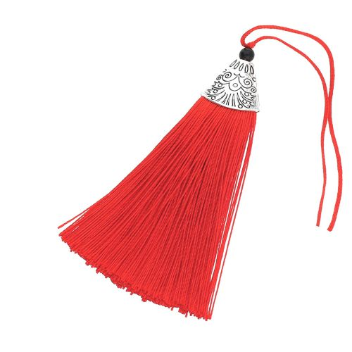 Tassel / viscose thread / silver flat end cap / 80mm / red / 1pcs