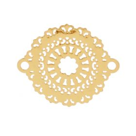 Gold Plated Filigree Flower Connector Charms 18x23mm Pk10