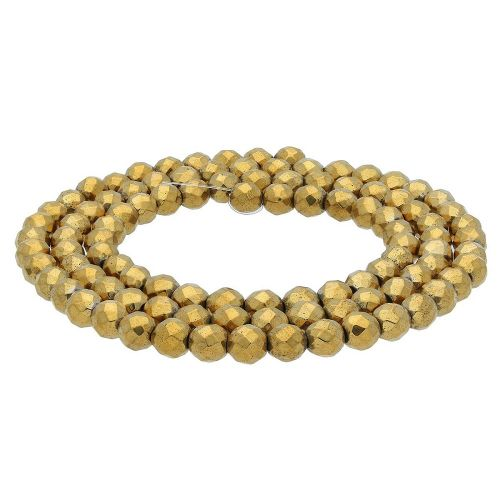 Hematite / faceted round / 3mm / gold / 130pcs