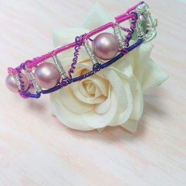 Wire Wrapped Pink Bracelet