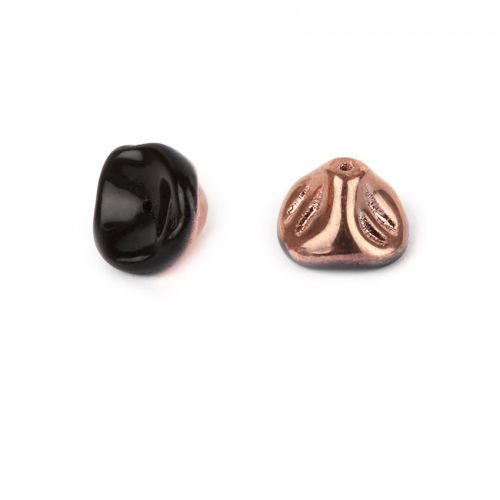 """X"" Preciosa Pressed Glass 3-D Petal Beads Black/Copper 8x10mm Pk10"