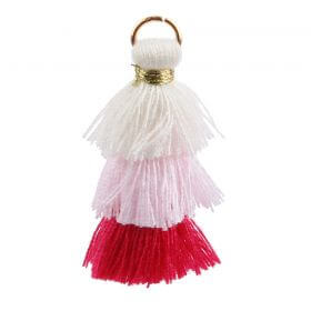 Cream/Pink/Fuchsia Triple Layer Tassel Charm 30mm Pk1