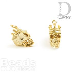 Gold Plated Brass Skull with Crown Charm 8x15mm Pk1