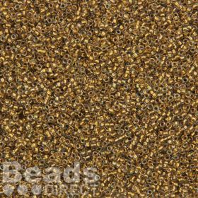 Toho Size 15 Round Seed Beads Gold Lined Topaz Inside Colour Crystal 10g