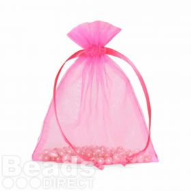 "Hot Pink Organza Bag 5""x6.5"" Pack 5"