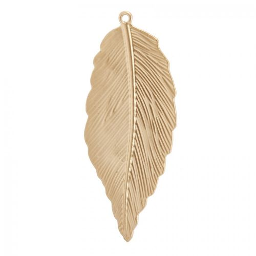 X- Matte Gold Plated Large Leaf Etched Charm 30x71mm Pk1