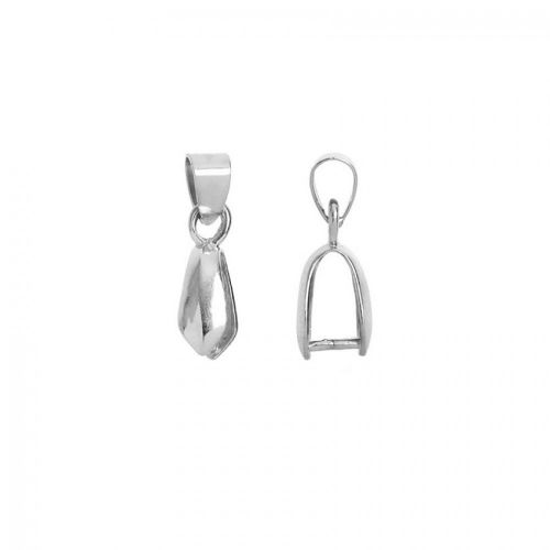 Silver Plate Pinch Bail with Loop for Large Pendant 5x9mm Pk1