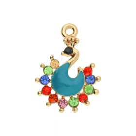Glamm ™ Peacock / pendant charms / with cubic zirconia / 22x16x3.5mm / gold plated / turquoise / multicoloured / 1pcs
