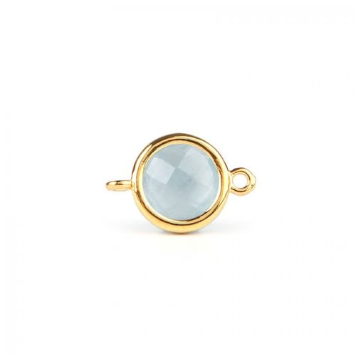 Aquamarine Faceted Glass Gold Plated Circle Connector Pk1