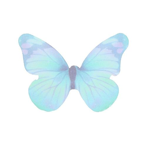 Butterfly wings / organza / 31x43mm / turquoise / 4pcs