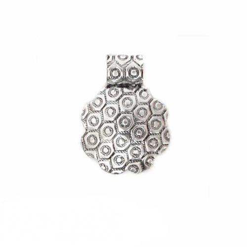 X- Silver plated flower pendant 20mm. Pk 1