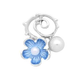 Flower with pearls / spacer / 21x17x6mm / silver, sky blue / hole 2mm / 2pcs