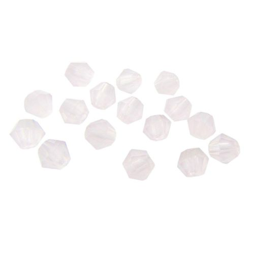 Glass beads / bicone / milky pink / shining / 3mm / 0.5mm hole / 1 string