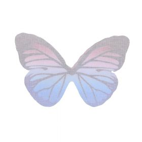 Butterfly wings / organza / 38x59mm / blue-pink / 4pcs