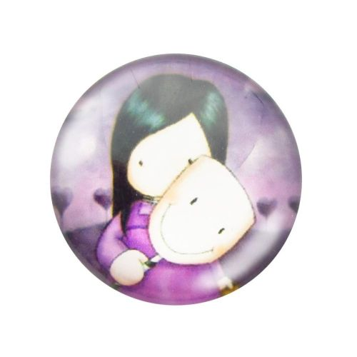 Glass cabochon with graphics 14mm PT1499 / pink / 4pcs
