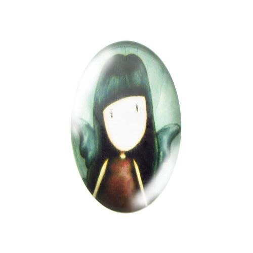 Glass cabochon with graphics oval 18x25mm PT1497 / green / 2pcs