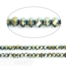 "Green Full Coat Essential Crystal Glass Faceted Rondelle Beads 8mm 16""Strand"