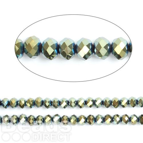 """Green Full Coat Essential Crystal Glass Faceted Rondelle Beads 8mm 16""""Strand"""