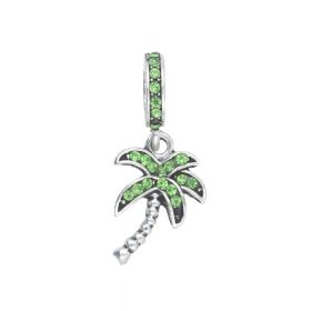 Glamm ™ Palm tree / charm pendant / with zircons / 28x12x10mm / silver plated / peridot / 1pcs