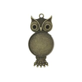 Owl / pendant / for 25mm cabochon / 57x27x3mm / antique bronze / loop 3mm / 1pcs