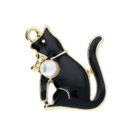 SweetCharm ™ Cat with pearl / charm pendant / 23x20x5mm / gold plated / black / 1pcs
