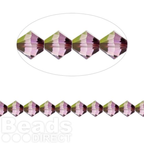 5328 Swarovski Crystal Bicones Xillion 8mm Crystal Lilac Shadow Pk6