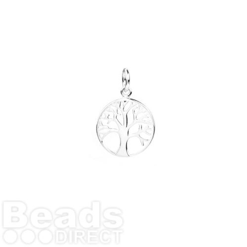 Sterling Silver 925 Small Tree of Life Coin Charm 12mm Pk1