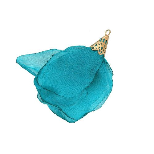 Chiffon flower / with openwork tip / 55mm / Gold Plated / turquoise / 1pc