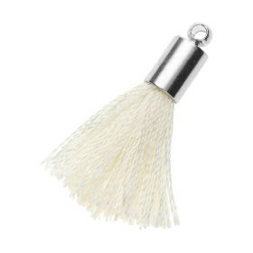 Tassel / viscose thread / silver end cap / 25mm / light cream / 1pcs