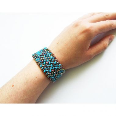 How to make a bracelet with superduo beads - Herringbone flat stitch