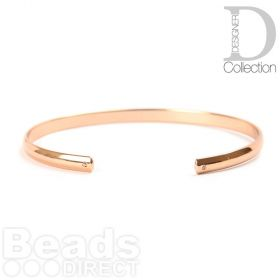 Rose Gold Plated Brass Bangle Base W/Hole Inner 55x60mm Pk1