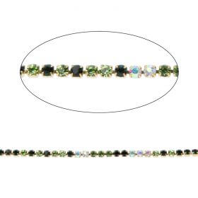 Green/Black/Crystal AB Crystal Gold Plated Cupchain 2mm 1metre