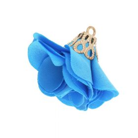 Satin Flower / with an openwork tip / 26mm / Gold Plated / blue / 2 pcs