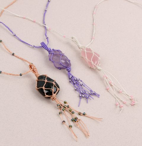 Netted Gemstone Necklaces