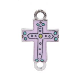 Pink Enamel Silver Plated Cross Connector Charm  15x18mm Pk1