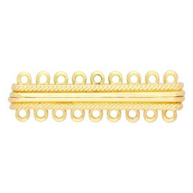 Magnetic clasp / wide / 9 loops / 13x46x8mm / gold / 2mm hole / 1pcs