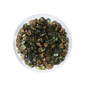 SuperDuo™ / glass beads / 2.5x5mm / Luster Bronze / Olivine / 10g / ~140pcs
