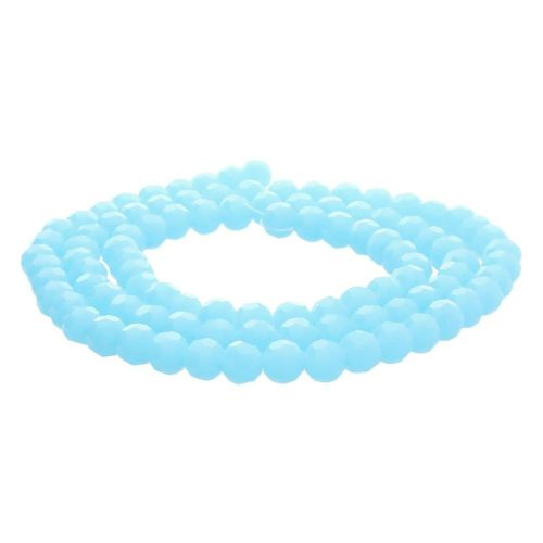 CrystaLove™ crystals / glass  / faceted round / 6mm / milky blue / lustered  / 95pcs