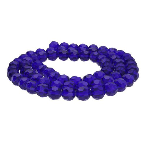 CrystaLove™ crystals / glass  / faceted round / 6mm / navy blue / transparent / 95pcs