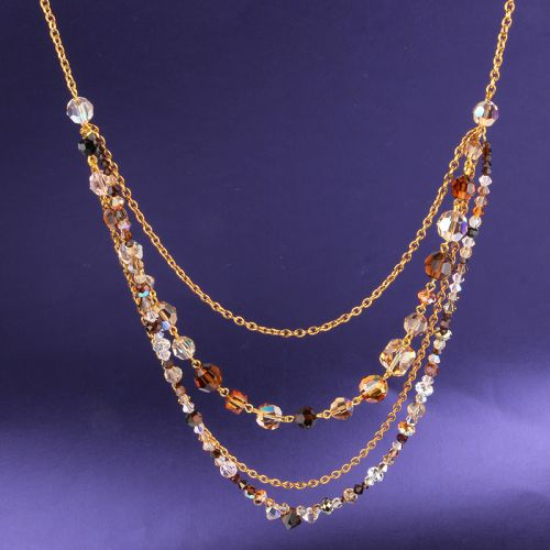 Smoked Topaz Crystal Necklace Made with Swarovski TAMB Kit - Makes x1