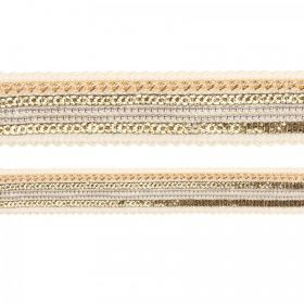 White and Gold Plated Woven Fabric Cord with Chain 25mm 180cm