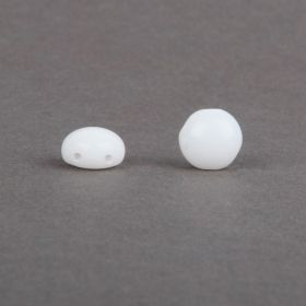 Preciosa Pressed Candy Twin Hole Beads Opaque White 8mm Pk30