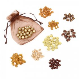 Golden Tones Bead Bundle with Assorted Pearl Beads and Glass Beads