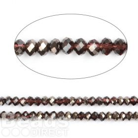 "Jet 1/2 Coated Essential Crystal Glass Faceted Rondelle Beads 6mm 16""Strand"