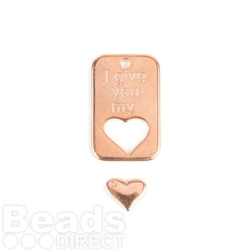 Rose Gold Plated Zamak Charm Tag 19x30mm and Heart 10mm Pk1