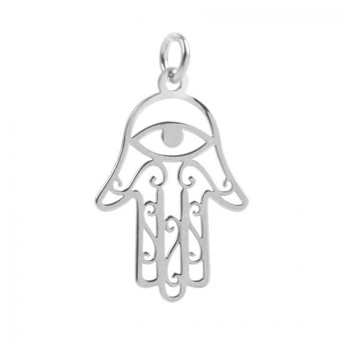 X-Sterling Silver 925 All Seeing Eye Hand Charm 14x22mm Pk1