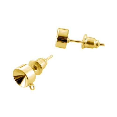 Ear studs / with silicone filled back / gold colour / 6mm / hole 1mm / 2pcs