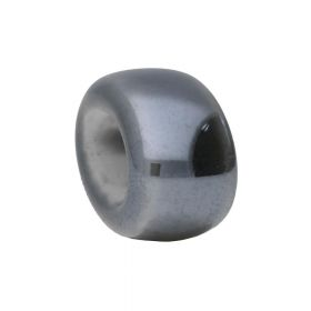 Ceramic beads / oval ring / 8.5x15.5x12mm / grey / hole 8.5x5.5mm / 2 pcs